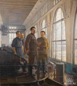 Сталин и Киров на Волховской ГЭС